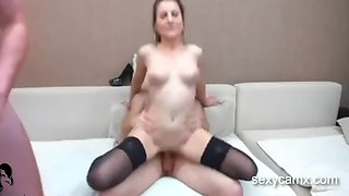 Double penetration face fuck and cumshot for slutty milf live at sexycamx.com