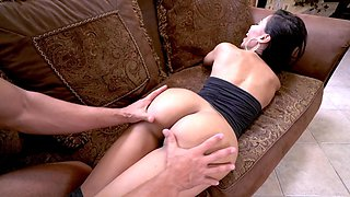 Sultry sexpot with round ass nicely drilled all over sofa