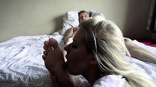 Seductive blonde girlfriend fulfills her foot fetish fantasy
