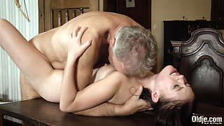 Old English teacher fucks his student, she swallows cum