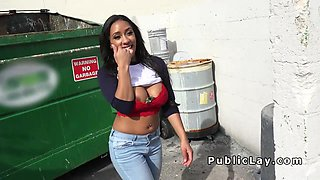 Petite Latina with huge tits bangs in public