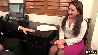 Tight skirt secretary Savannah Fox wants the stud to fuck her