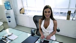 Dedicated secretary Alyssa has a crush on her stud boss