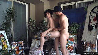 Nude artist Olive Glass is sucking a dick and getting her muff slammed