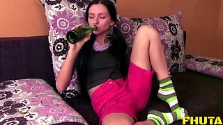Drunk Russian sweetie Kate bouncing on a pulsating cum gun