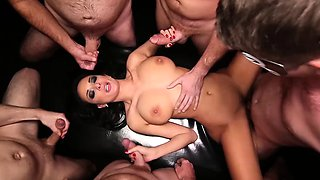 Big tittied french babe gets gangbanged and creampied