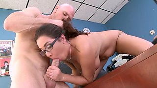 Bald teacher gives bookworm Karlee Grey a lesson and fucks her