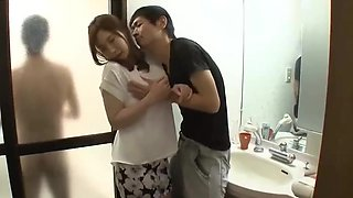 Daddy's new wife get molested by boy at bathroom door -Pt2 At WeMilfCam.com