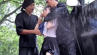 Sweet Asian schoolgirl banged hard by two boys in the park