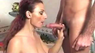 Busty Italian mom gets spunk on her face