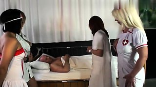 Three naughty nurses in uniform share their passion for cock