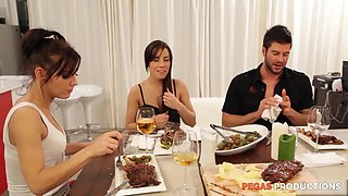 Hardcore porn star foursome in the kitchen with Shana Lane and friends
