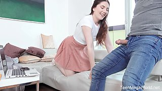 Married guy bangs pretty hot teen in short skirt Mia Evans