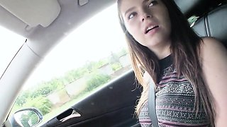 Hitchhiking bigtitted eurobabe pounded on car