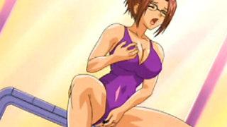 Swimsuit Japanese hentai self masturbating in the swimming pool