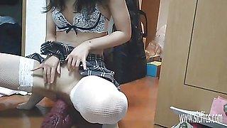 Misas teen use destruction with XXL Dragon dildo toy