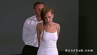 Handcuffed redhead slave banged in dungeon