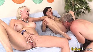 Horny and sexy grannies enjoy pussy pounding pussy licking and dick sucking in orgy