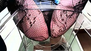 POV of a dominant woman in fishnets sitting over your face