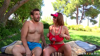 Eva Notty poses outside and gets drilled near the pool