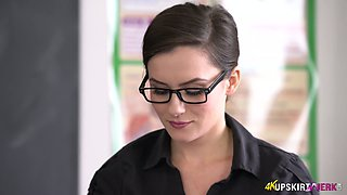 Strict teacher Charlie Rose spreads legs wide and shows panties upskirt