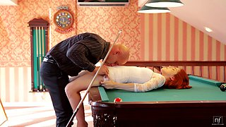 Passionate fucking on the pool table with hot redhead Amarna Miller