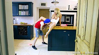 sexy blonde milf has a crush on her son's friend, so she sucks him off