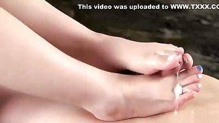 Japanese Hottie Footjob POV
