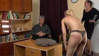 Cute chick gets her firm ass punished by a naughty mistress