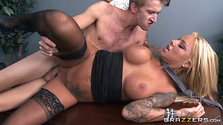 Office sex on the table for secretary Britney Shannon in stockings