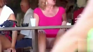 Amateurs at the bar flash their pussies to everyone