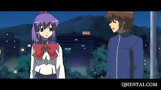 Anime girlfriends sharing double dildo