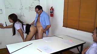 Thai student fucks her teacher in class