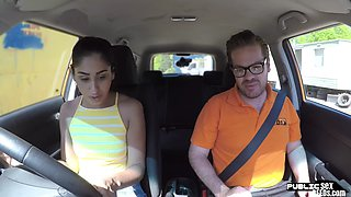 Student driver sucks her teacher in public before pussy fucking