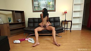 Rare interracial in the kitchen with the petite ebony daughter