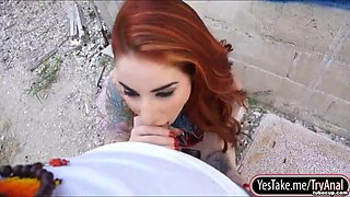 Tattooed redhead bombshell Sheena Rose gets anal screwed outdoors