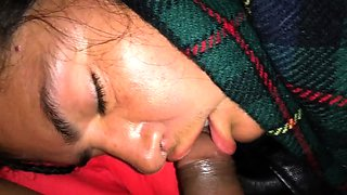 Sleeping ebony wife has a black cock roaming around her lips
