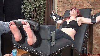 Tickle abuse red haired girl extreme feet tickling