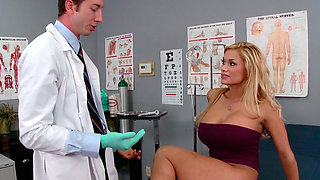 Busty blondie Shyla Stylez makes her gynecologist lick her pussy