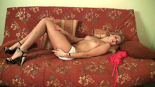 Amateur leggy young chick in white panties is so happy to go solo