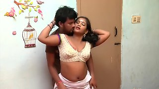 Telugu aunty boobs pressing romance with ac mechanic