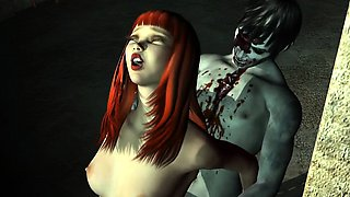 3D Redhead Having Rough Sex with a Zombie