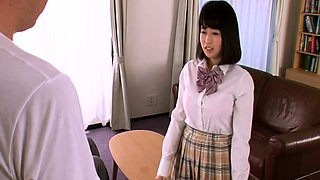 Adorable Japanese schoolgirls get naked and share a cock
