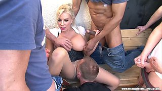 Members smoking gang grope wank pantyhose cumshot with blonde big tits slut Michelle Thorne